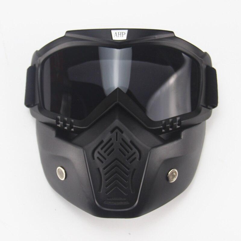 Ski vélo moto masque facial lunettes Motocross moto moteur visage ouvert détachable lunettes casques Vintage lunettes universel - 4