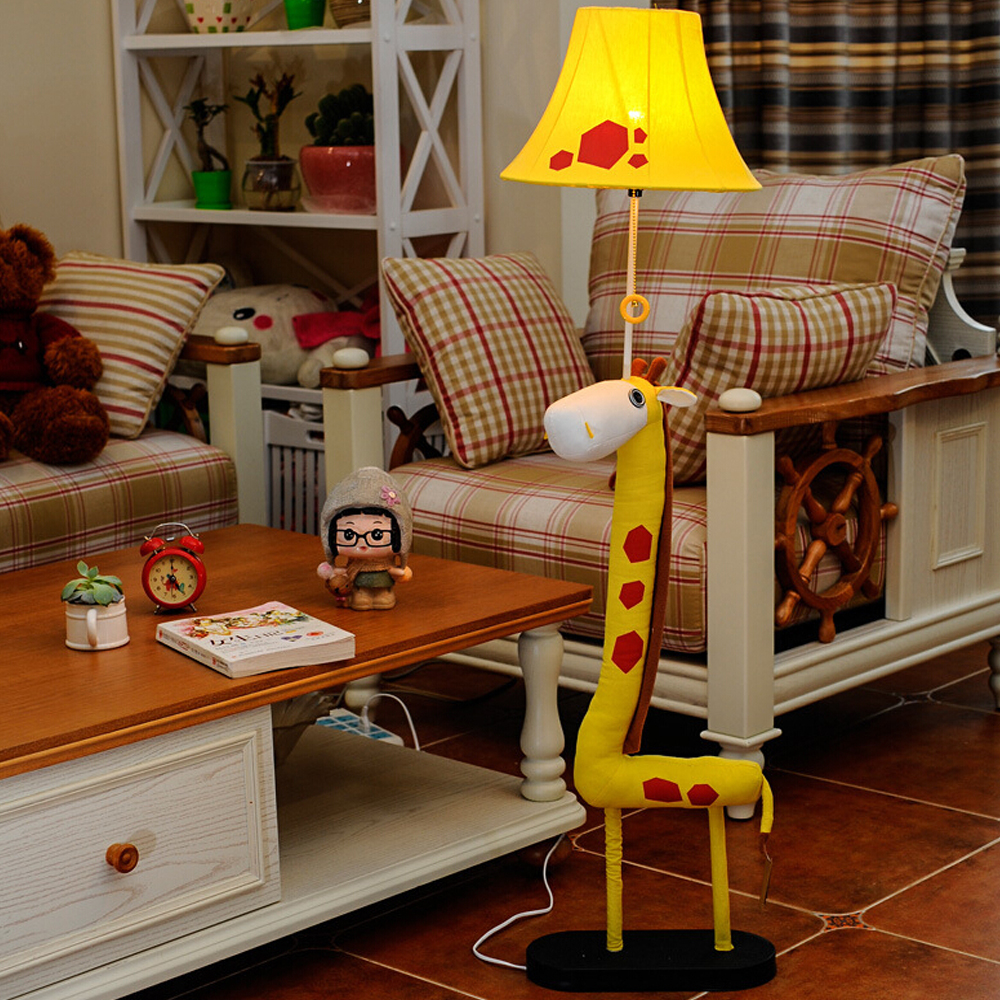 Children Room Led Cartoon Kids Floor Lamp Wooden Tripod LED Bulb Lamp E27 Decor Standing Lamps Goat People Floor Standing Lights wooden floor lamp modern with foot switch living room bedroom study floor standing lamps white fabric wooden floor lights decor
