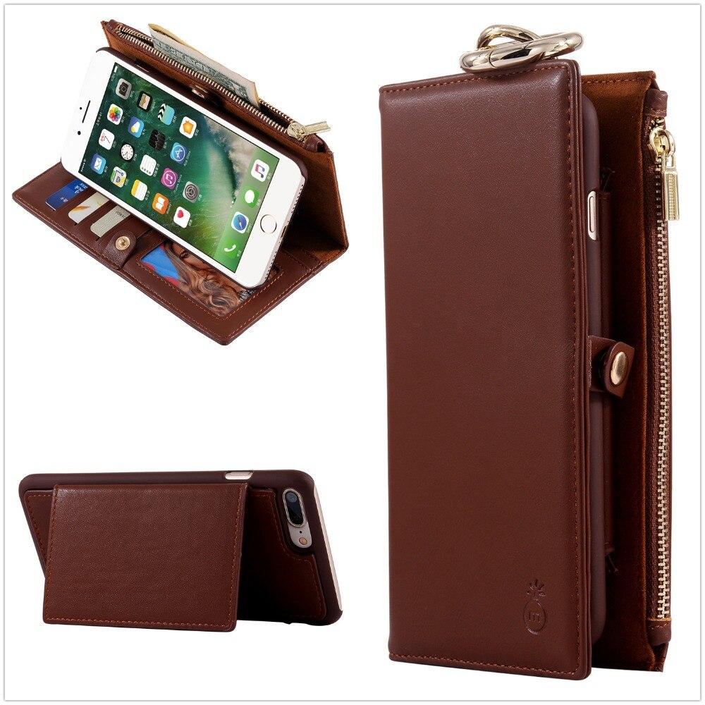 imágenes para Para iphone 6 6 s plus casos teléfono de la carpeta de cuero genuino bolsa de la cubierta case para apple iphone 6 6 s plus 5S 7 plus 5 5c teléfono sony ericsson casos