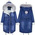 Mulheres Jaqueta de inverno Engrossar Casacos De Lã De Cordeiros Com Capuz Denim Algodão Amassado Jaqueta Feminina Parka Casaco Azul Denim Manteau Femme C2701