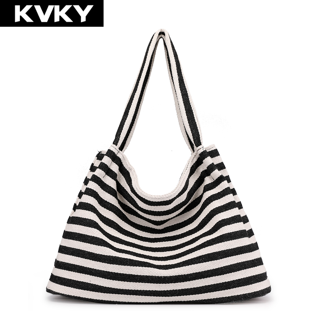 Brands Canvas Handbags Stripe Female Shoulder Bag Large Capacity Casual Totes Bag Hobos Beach Shopping Bag Bolsas