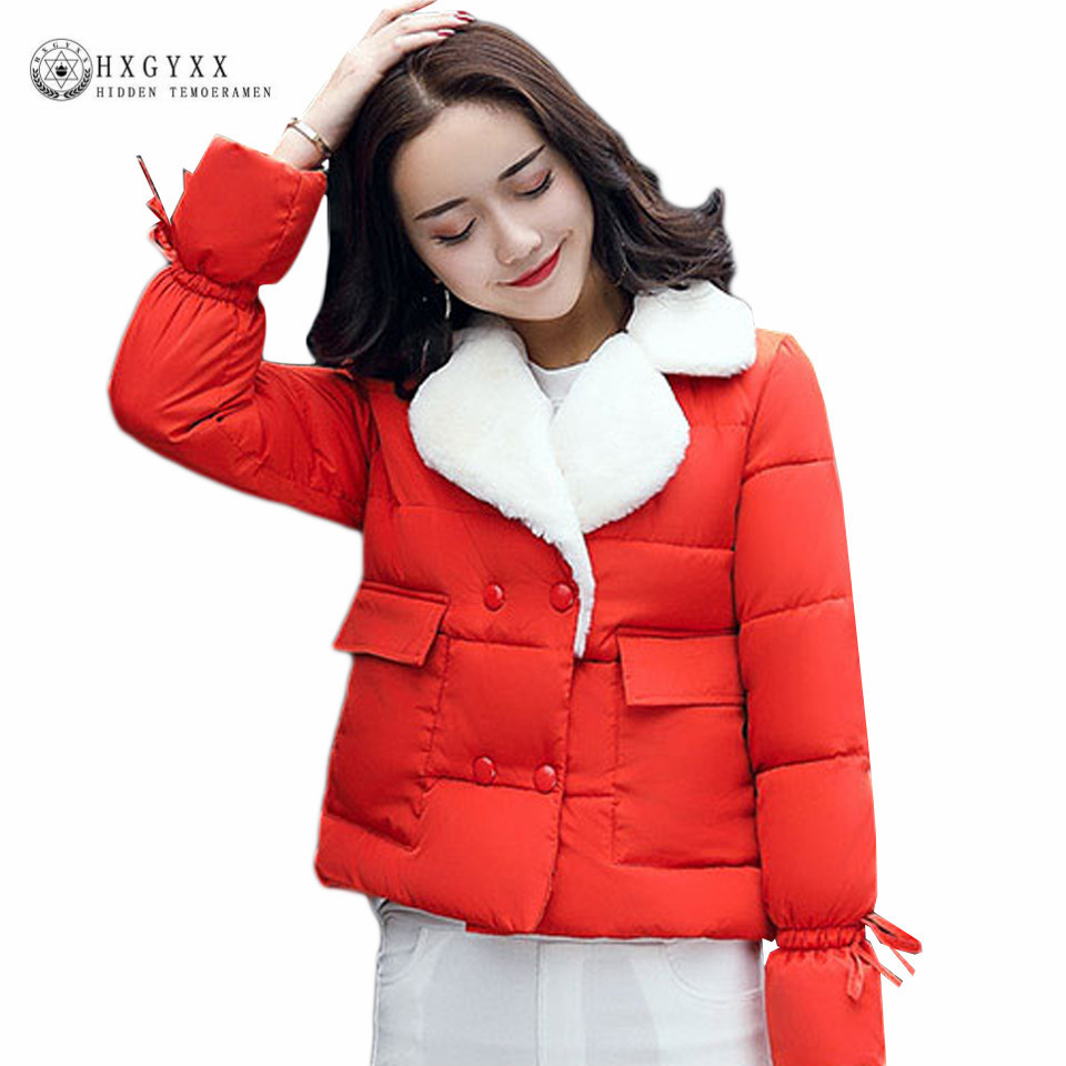 2017 New Winter Jackets Women Turn-down Lamb Collar Solid Color Slim Double Breasted Cotton-Padded Coat Warm Short Parka OK426 europe 2015 new women winter coat slim turn down collar long double breasted leather match cotton jacket coat w20