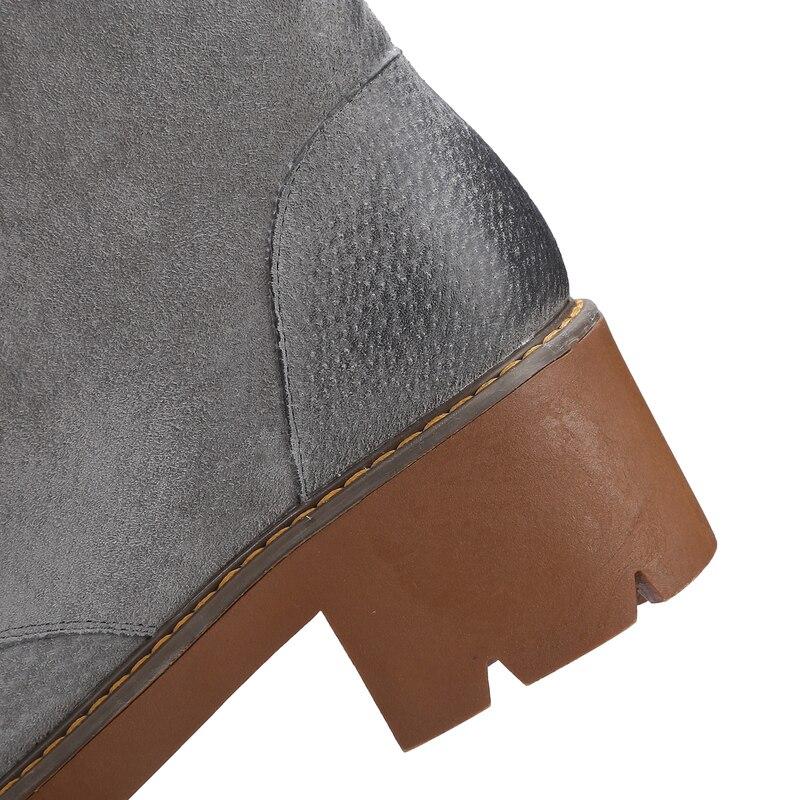 39 Marron Cheville Mode En Rond D'hiver Bottes Cuir Bout Carré À Talons Véritable 34 Dentelle Hauts Femmes up Salu gris Taille Hpnwx4q4