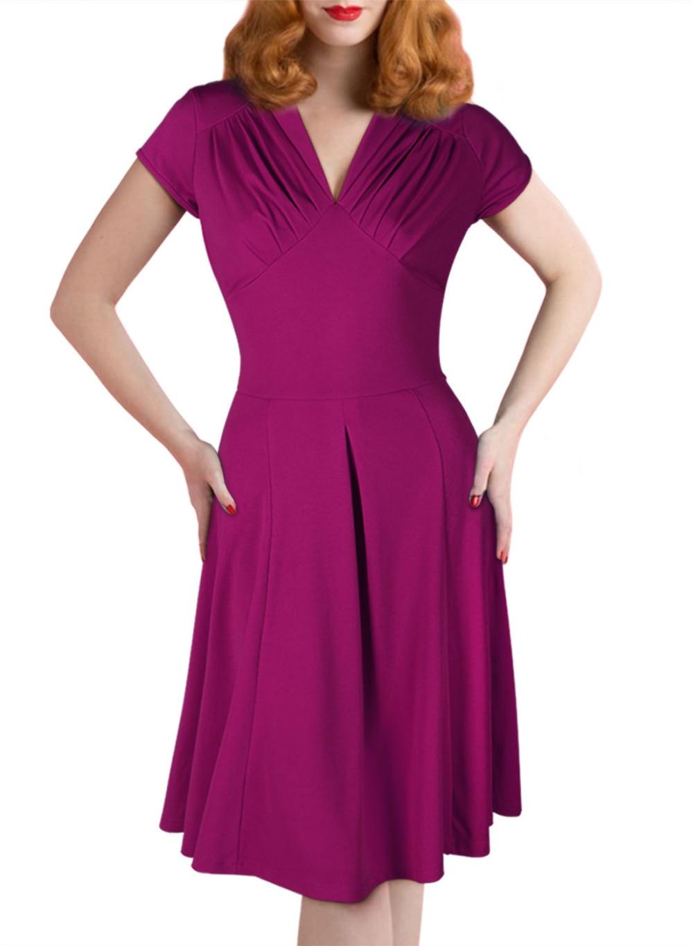Vestido, para \' s Vintage estilo Retro 1940 s de la blusa evasé Tea ...