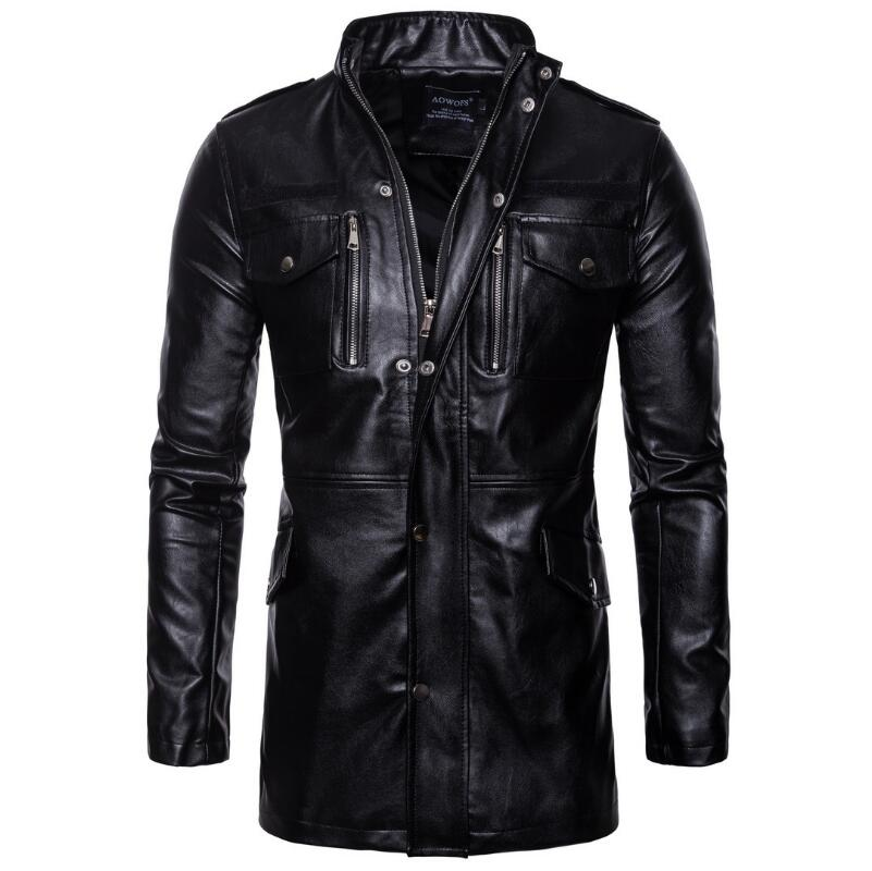 Men Clothing 2018 High Fashion, Leisure And Size Faux Sheepskin Coat Motorcycle Jacket Men  Mens Long Leather Trench Coat