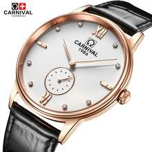 Carnaval Mode Quartz Horloge Mannen Eenvoudige Zwarte Lederen Band Waterdicht Heren Horloges Top Brand Luxe Horloge Klok kol saati