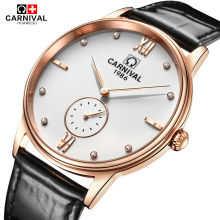 Carnival Fashion Quartz Watch Men Simple Black Leather Strap Waterproof Mens Watches Top Brand Luxury Wristwatch Clock kol saati