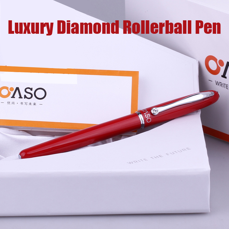 OASO A16 Luxury Red and Silver Clip with Diamond Rollerball Pen with Original Case for Lady Christmas Gift 0.5mm Writing Pens oaso a15 luxury black and silver clip double nib fountain pen set with original gift case 0 38mm 0 5mm pens for writing