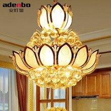 Lotus Flower Glass Gold LED Crystal Chandeliers Lights Ceiling Pendant Lamp 45cm 50cm For Dining Room Bedroom Lighting (ADB307)
