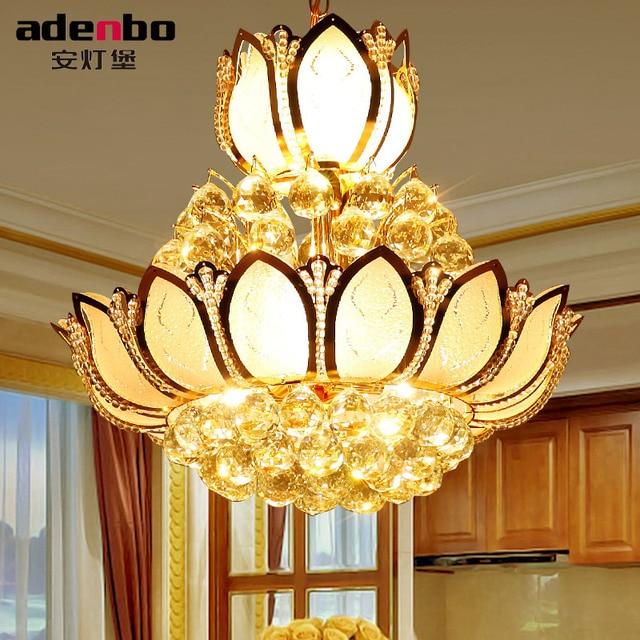 Lotus Flower Glass Gold LED Crystal Chandeliers Lights Ceiling Pendant Lamp  45cm 50cm For Dining Room