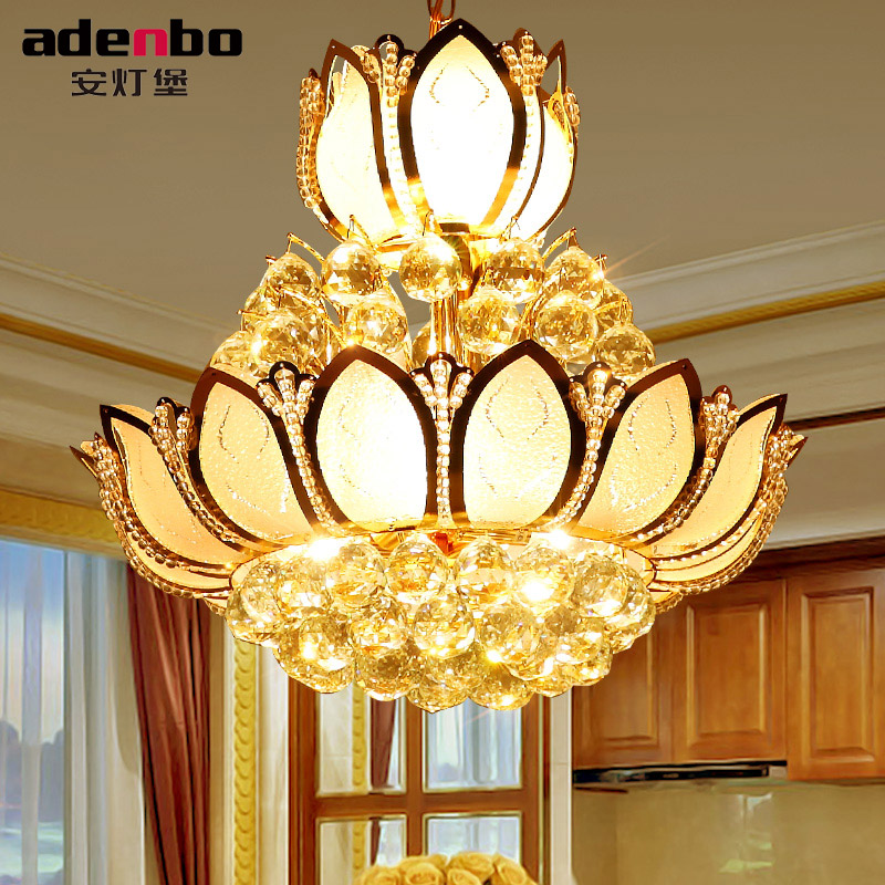 Lotus Flower Glass Gold LED Crystal Chandeliers Lights Ceiling Pendant Lamp 45cm 50cm For Dining Room
