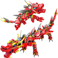 417Pcs Red Ninjagoed Fire Dragon Knight Model Building Blocks Compatible Legoings Transformable Educational Toys Gifts For Kid