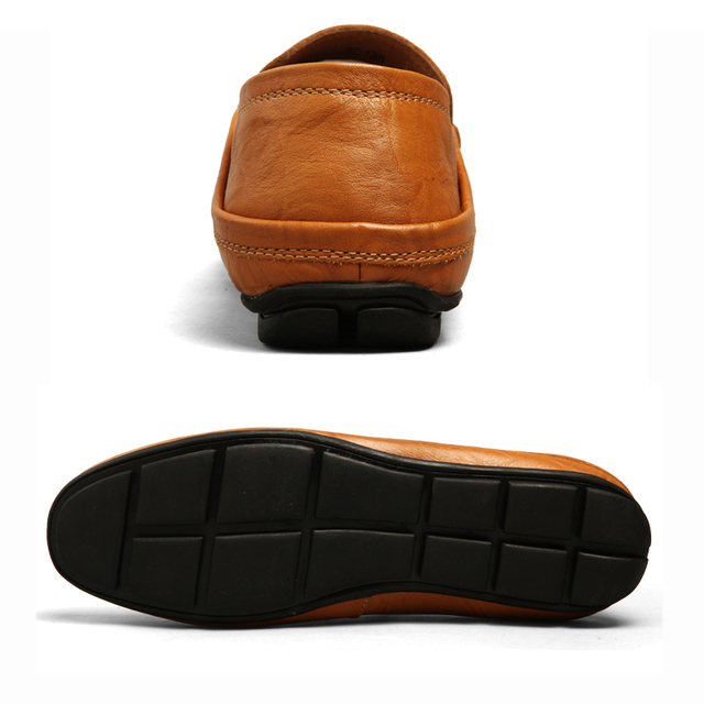 Superstar Men's casual driving shoes Slip-on city loafers male Genuine leather upper soft