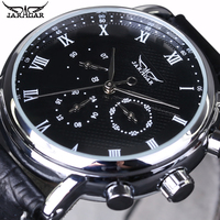2018 Jaragar Mechanical Automatic Men Watches Top Brands Luxury Calendar 24 Hour Leather Strap Male Dress Business Wristwatches