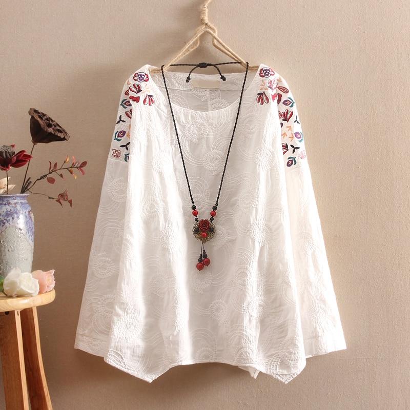 Cotton linen blouse women autumn full sleeve white for Womens white shirts high quality
