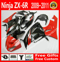 АБС пластик Обтекатели для мотоцикла Kawasaki 2009 2010 2011 2012 ZX6R части 09 10 11 12 красный черный обтекателя комплект 7 дар GJ74
