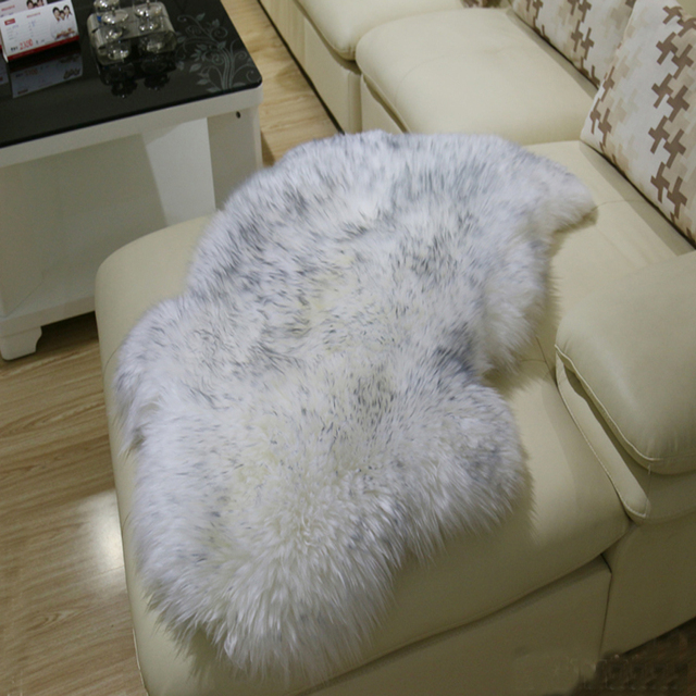 Faux Fur Rug Sheepskin Sofa Cover Warm Carpet Seat Pad Plain Skin Fluffy