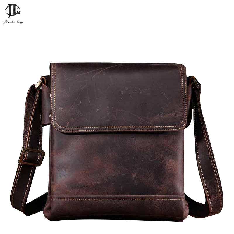 Mens Shoulder Bag Leather Mens Genuine Leather Handbags Mens Over Shoulder Bag Crazy Horse Handbag Briefcase Business Packag ...