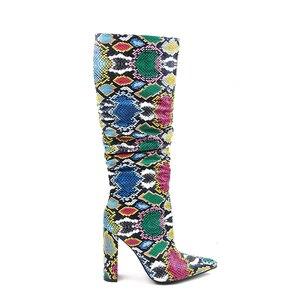 Image 3 - MORAZORA حجم كبير 36 41 الأوروبية النساء الأحذية ثعبان الجلود الاصطناعية عالية الكعب حذاء برقبة للركبة سستة السيدات الأحذية الإناث