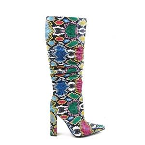 Image 3 - MORAZORA Più Il formato 36 41 donne Europee stivali di serpente in pelle artificiale di alta tacchi stivali alti al ginocchio delle signore della chiusura lampo stivali femminile