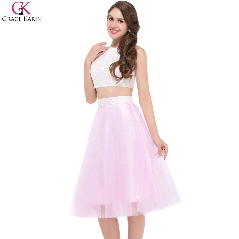 Cheap Cute Light Pink 2 Two Piece Prom Dresses Set Grace Karin Satin ...