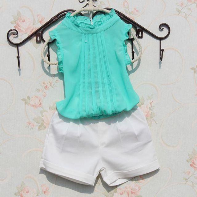 a5efbf4078 Moda 2017 color puro del bebé del verano grandes adolescentes Niñas blusa  Camisas para niños niño
