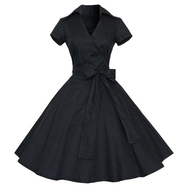531b3b0804c3d Kenancy Plus Size Women Vintage Dress 1960s Rockabilly Swing Retro Dress  Party Vestidos Solid Office Dress Robe A-Line Dresses