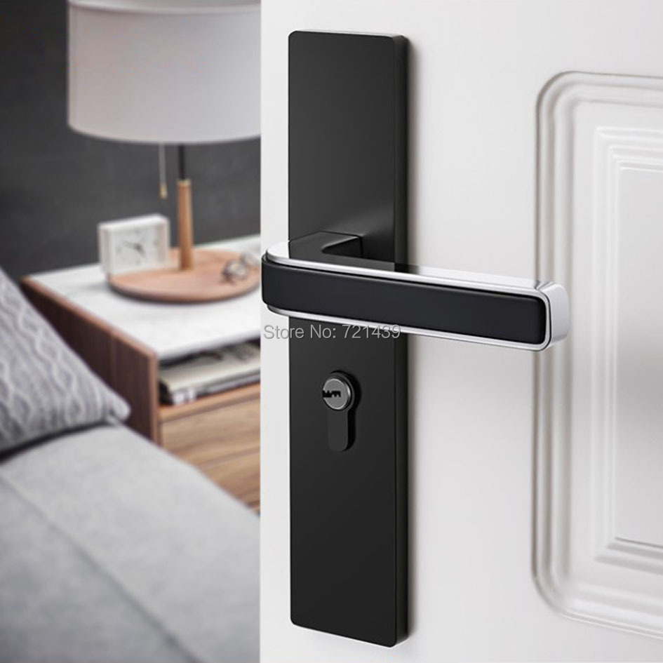 Black solid space Zinc Alloy door locks Continental bedroom ...