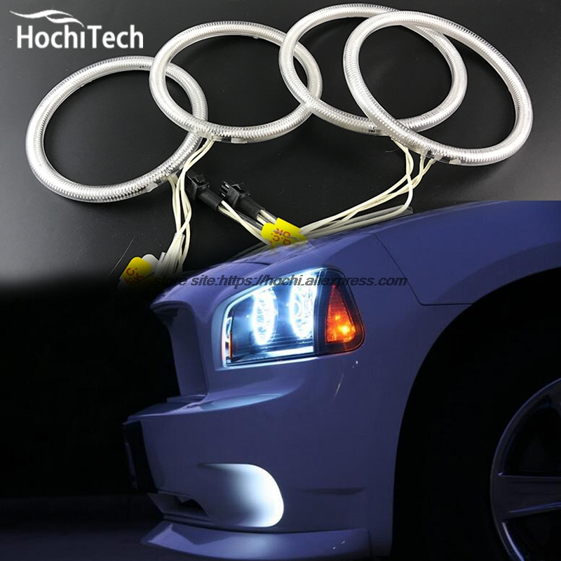 for <font><b>Dodge</b></font> <font><b>Charger</b></font> 2005-2010 car styling 4pcs White Headlight Halo Rings CCFL Angel Eyes Light Kit daytime light DRL image