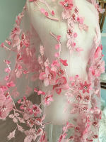 One Yard Luxury 3D Beaed Lace Fabric Dust Pink Peach, Scalloped Bridal Dress Wedding Gown Lace Fabric , Haute Couture Fabric