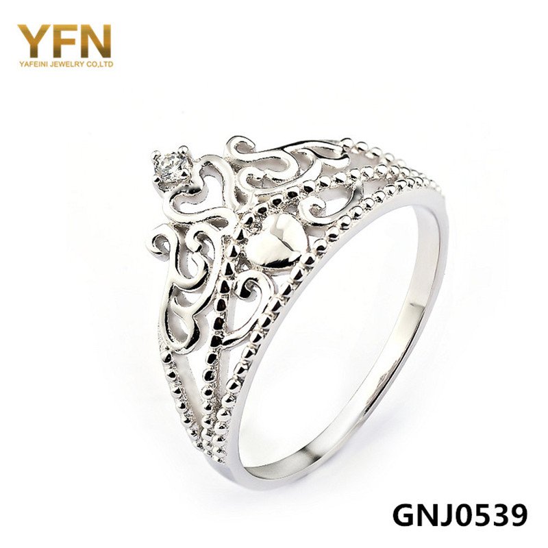 wholesale gnj0539 solid 925 sterling silver crown rings