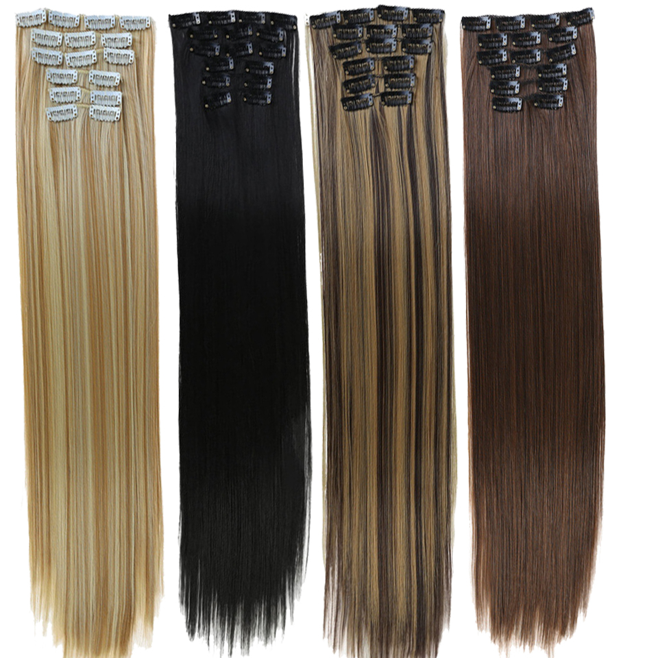 DIFEI 16 Clips Hair Extension Body Straight  Hair Extension Clip For Women Synthetic Hair Extensions Blonde Brown  Ombre Color