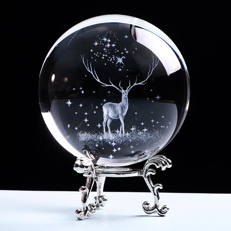 3D Wapiti Ball Laser Engraved Glass Globe Crystal Ornament Miniature Reindeer Home Decor Christmas Decoration Accessories Sphere