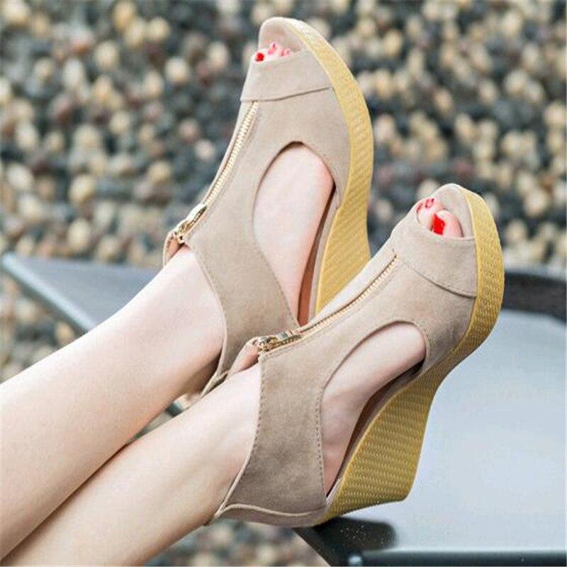 khaki Pescado Europeo Alto De Y Pendiente Mujer Zapatos Romanas Americano  2019 Sandalias Con Tacón Muffin ... a04dffe56bed
