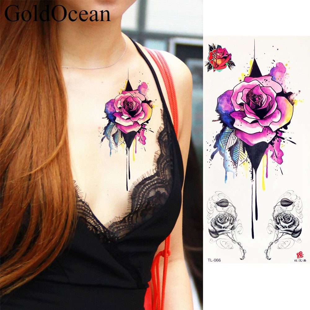Water Color Rose Flower Temporary Tattoo Stickers Girl -2834