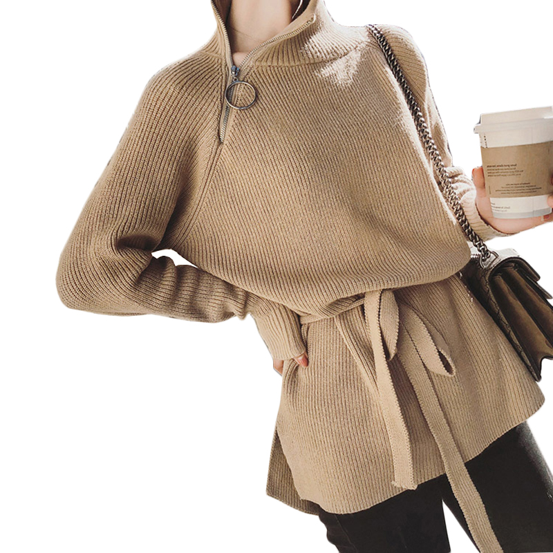 2018 Winter Spring New Fashion Women Solid Color Turtleneck Side Zipper Medium Long Slim Knit Sweater Pullovers thick knitted charter club new blue sky women s medium m cable knit crewneck sweater $59 359