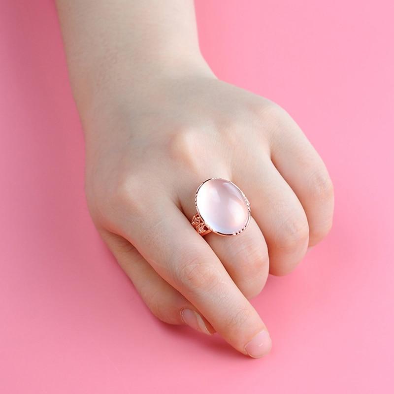 2018 haute qualité femmes bijoux or grands anneaux pierres semi-précieuses naturelles calcédoine rose cristal simple amoureux de la mode cadeau