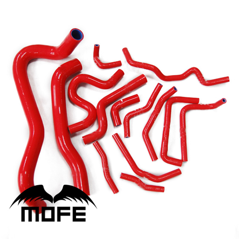 MOFE 14PCS/SET Original Logo Silicone Coolant Hose Kit For Honda Civic Type R FN2 2006-2010 Red hosingtech silicone coolant turbo hose suitable for saab 9 5 2 0t 2 3t 98 2010 b205 and b235 all type red