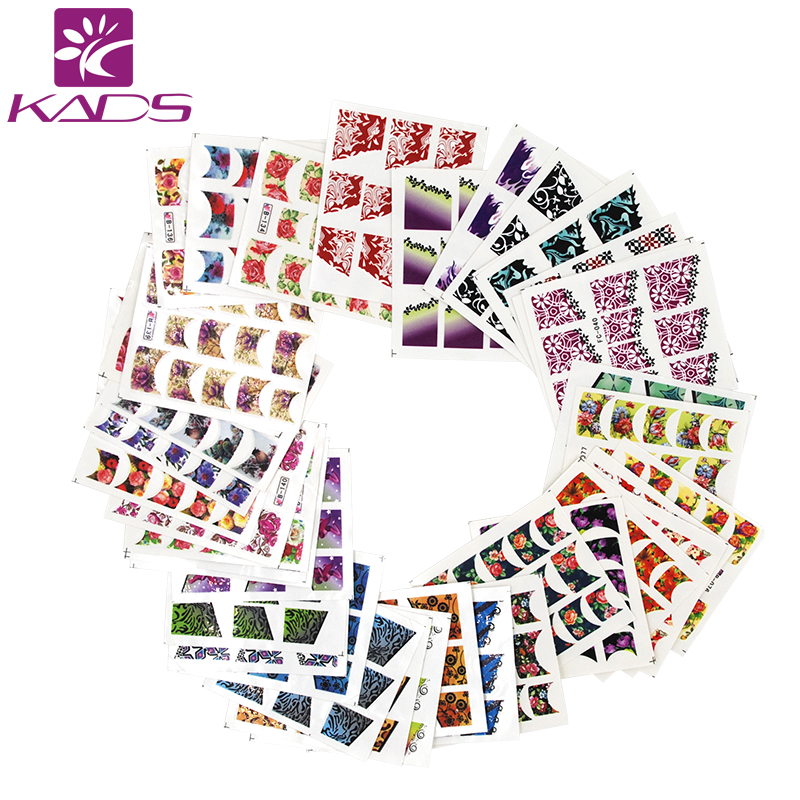 KADS New Trend 50pcs/set Nail Transfer Decals Charm French Style Nail Art Water Stickers Beauty Nail Decorations Tool yzwle 1 sheet chic flower nail art water decals transfer stickers splendid water decals sticker yzw 1398