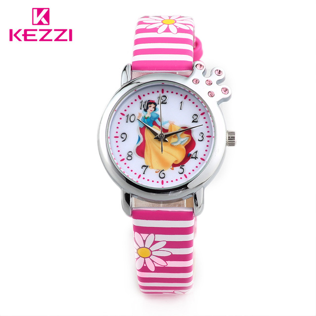 2015 children snow white cartoon watch kezzi brand watches casual quartz watches color-striated watches k1184 for kid hot sale