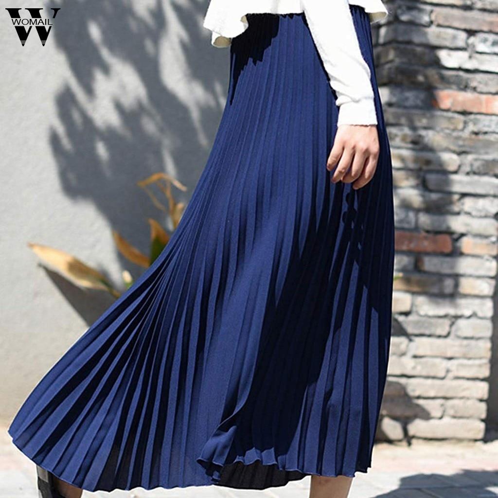 Womail Skirt Women Summer High Waist Solid Pleated Elegant Midi Elastic Waist Maxi Skirt Beach Skirt Fashion NEW2019 Dropship A1