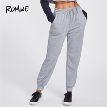 ROMWE Pants Women Drawstring Marled Sweatpants Grey Casual Mid Waist Womens Fall Trousers Joggers Women Clothes Long Pants