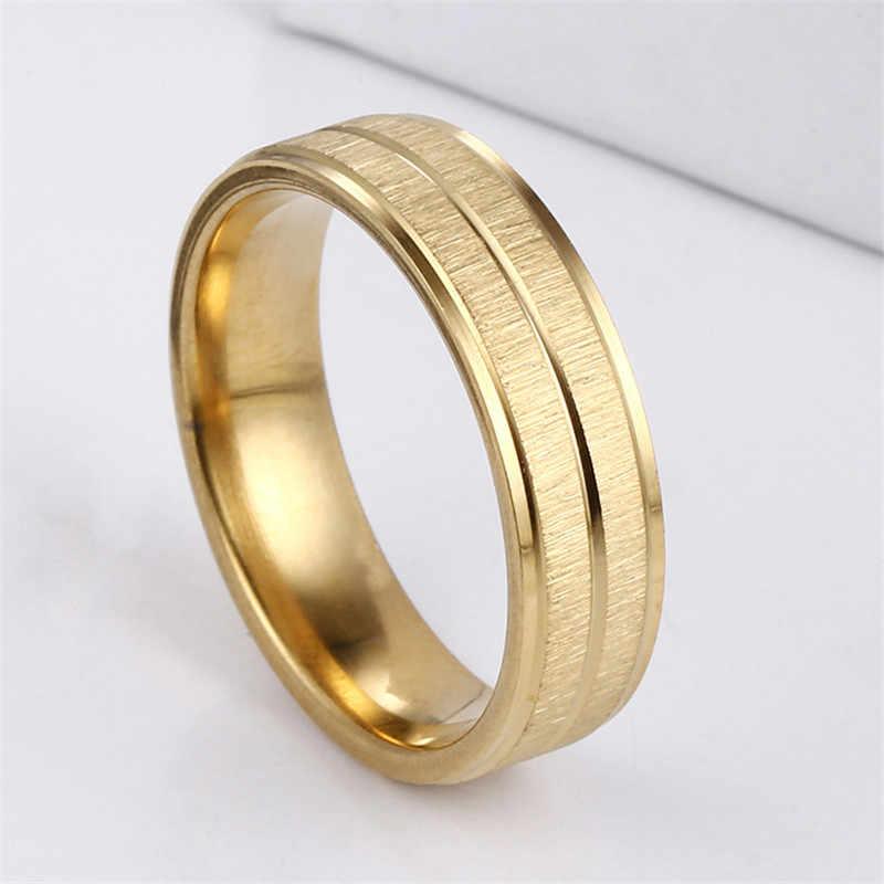 2018 ใหม่สแตนเลสสตีล Rose Gold แหวนผู้ชายเครื่องประดับแหวนคู่หมั้นแหวนทองสีแหวนเครื่องประดับ