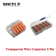 Hot Sale Wago 10pcs Transparent Universal Fast Wire Wiring Connector 5 Pin Mini Conductors Terminal Block