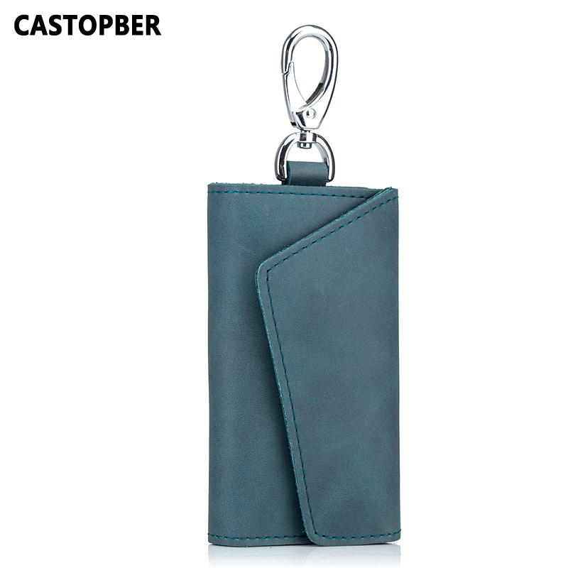 Vintage Key Wallet Holder For Men Car Key Case Split Leather Women Housekeeper Holders Fashion Organizer Bag Unisex Solid Famous