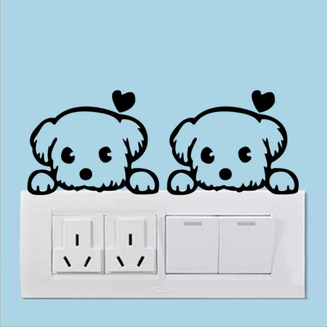 1X Dog Switch Sticker Room Wall Stickers Cute Glass Notebooks Bathroom  Stickers Decorated Removable Decoration Wall Decals