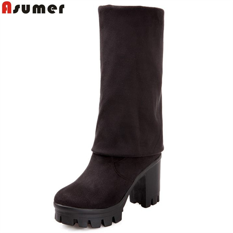 ASUMER Square High Heel Women Boots Stretch Fabric Over The Knee Boots Women Shoes Winter Female Lace Up Suede Thigh High boots vallkin 2018 lace up women boots rhinestone square high heel over the knee boots stretch fabric wedding ladies boots size 34 43