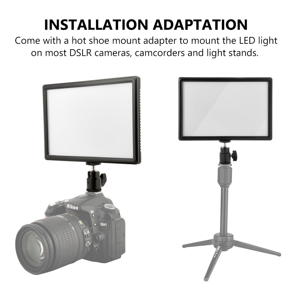 TSLEEN Brightness Adjustable LCD Display Bi-Color & Dimmable Slim DSLR Video LED Light Panel for Canon Nikon Camera DV Camcorder godox led 308y 308 leds professional led video 3300k light with remote control for canon nikon camera dv camcorder