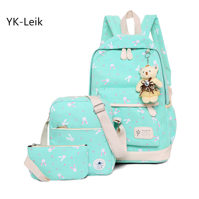 2018 мода мультфильм печати 3 шт./компл. школьные сумки для девочек свежий женские рюкзаки школьные рюкзак Mochila escol