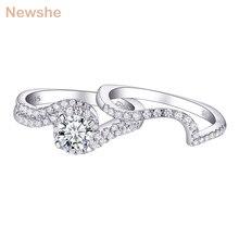 Newshe 1.2Ct blanc rond AAA CZ solide 925 en argent Sterling bague de fiançailles de mariage ensemble bijoux à la mode pour les femmes 1R0023
